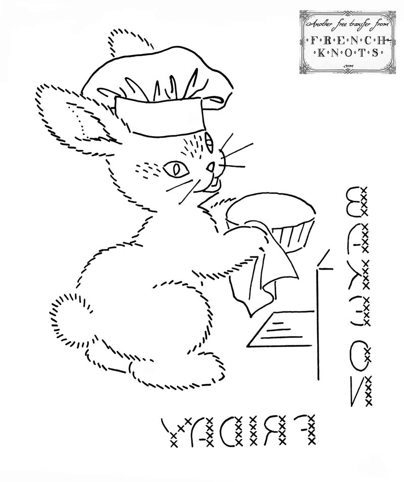 Vintage Bunny DOW Set Embroidery Transfer Patterns