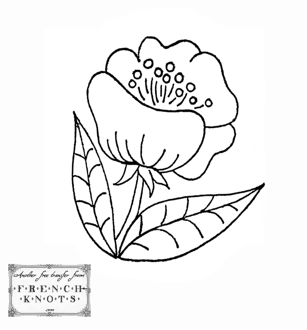 Floral Embroidery Pattern French Knots