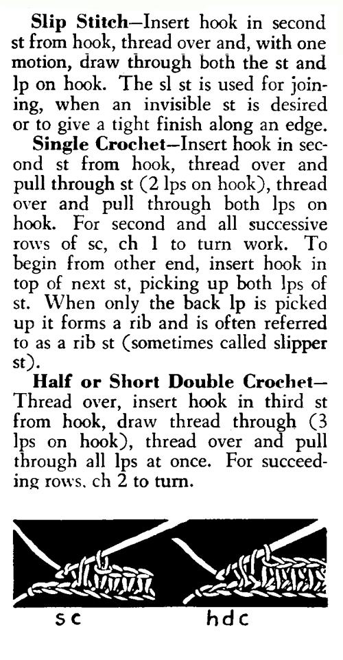 slip an single crochet
