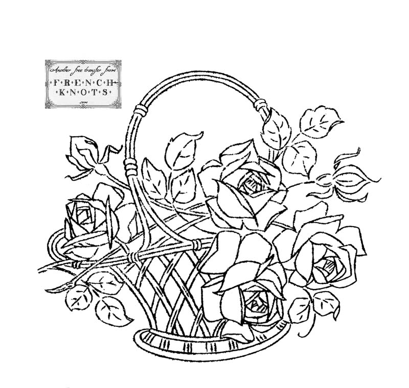 Flower Basket Line Drawing : Embroidery transfer patterns flowers baskets hearts