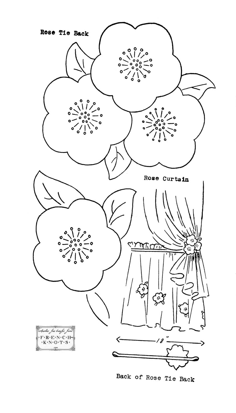 Free Embroidery Transfer Patterns – Vintage Flowers : french roses quilt pattern free - Adamdwight.com