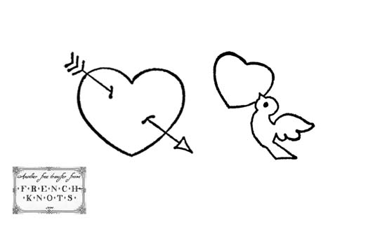 heart and dove applique pattern