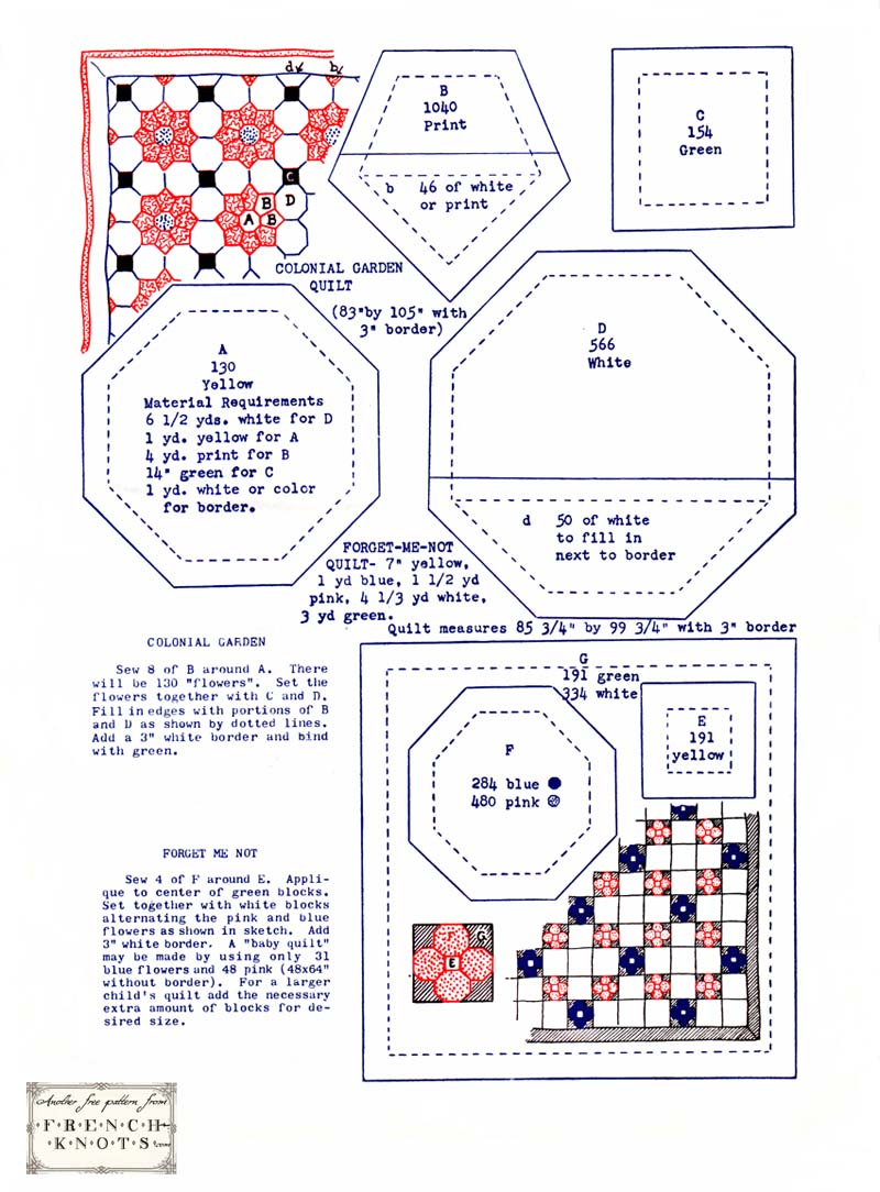 Forget me not and colonial garden vintage quilt pattern for Quilting templates free