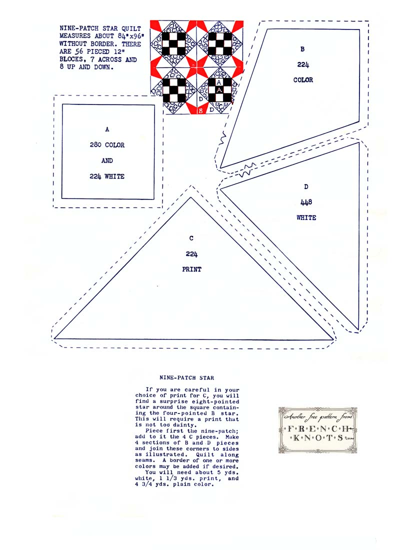 Nine Patch Star Vintage Quilting Pattern