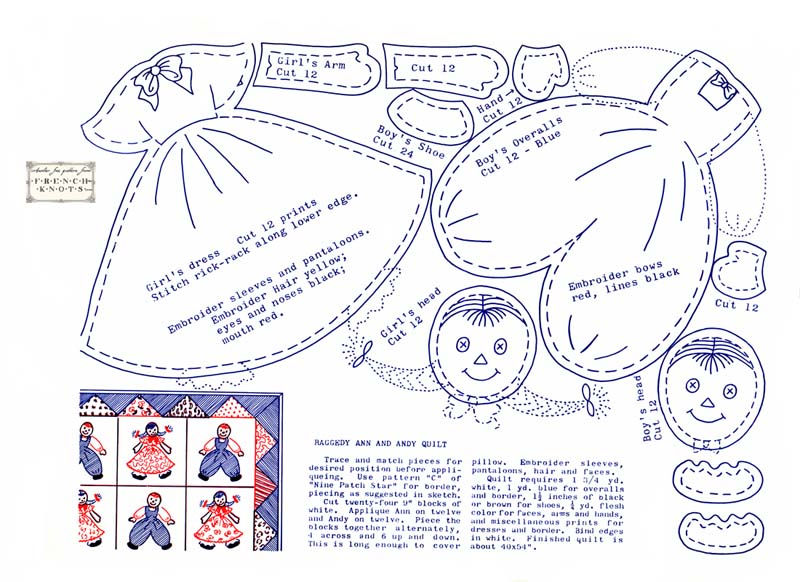 Free Raggedy Ann and Andy Doll Applique Pattern