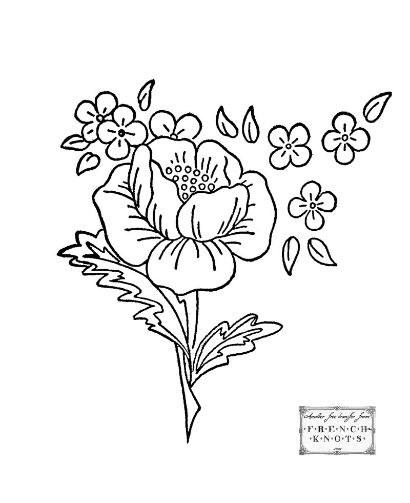 Roses Embroidery Patterns French Knots
