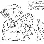 Winter Kids Embroidery Transfer Pattern