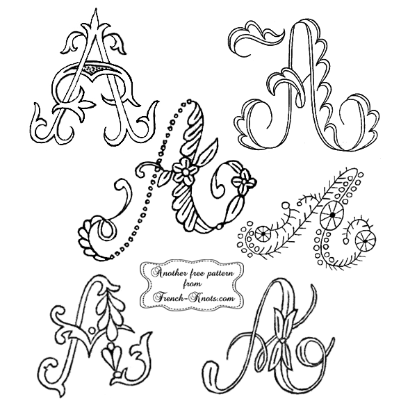 Single Letter Initials Monogram Embroidery Patterns French Knots